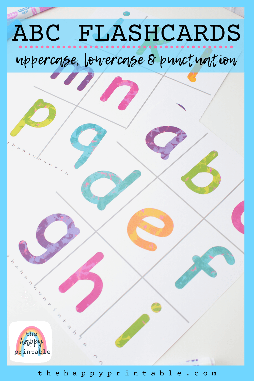 photo of printable ABC alphabet flashcards in bright colors