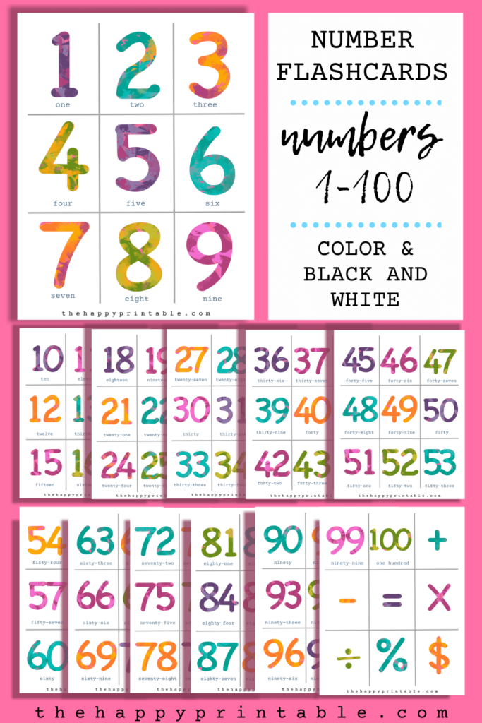 free printable number flashcards in full color includes numbers 1-100 and function signs