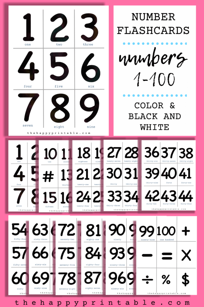 black and white printable number flashcards include numbers 1-100 and function signs