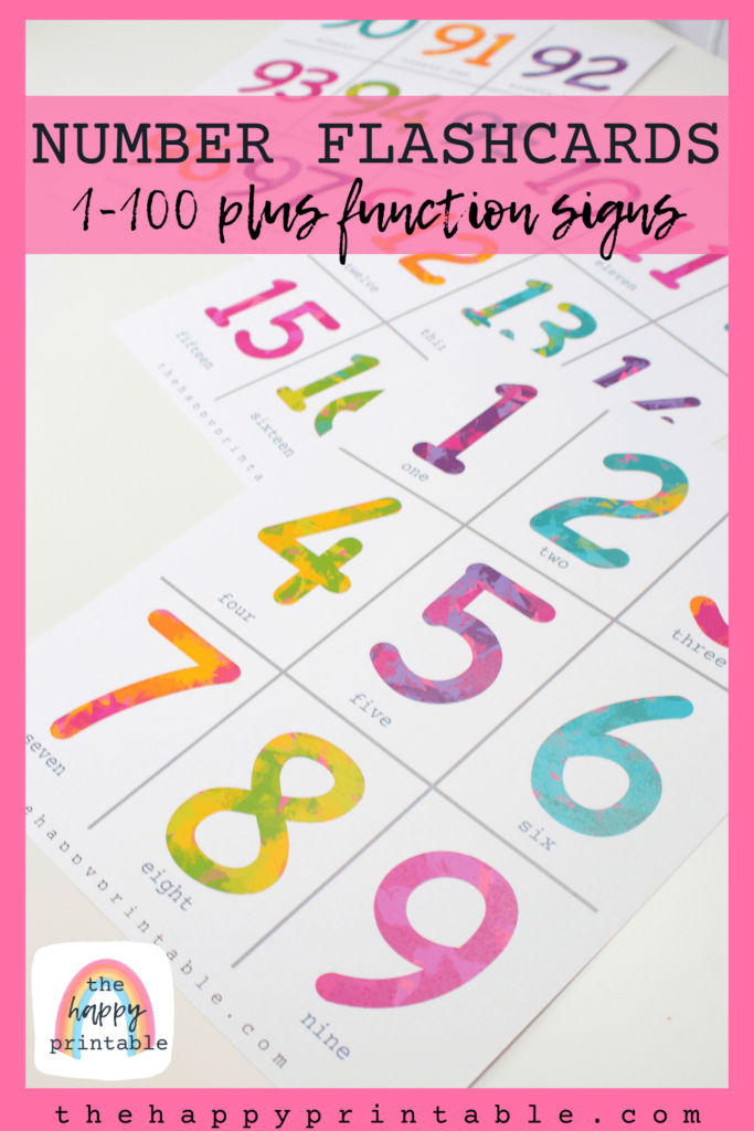 free printable number flashcards in full color