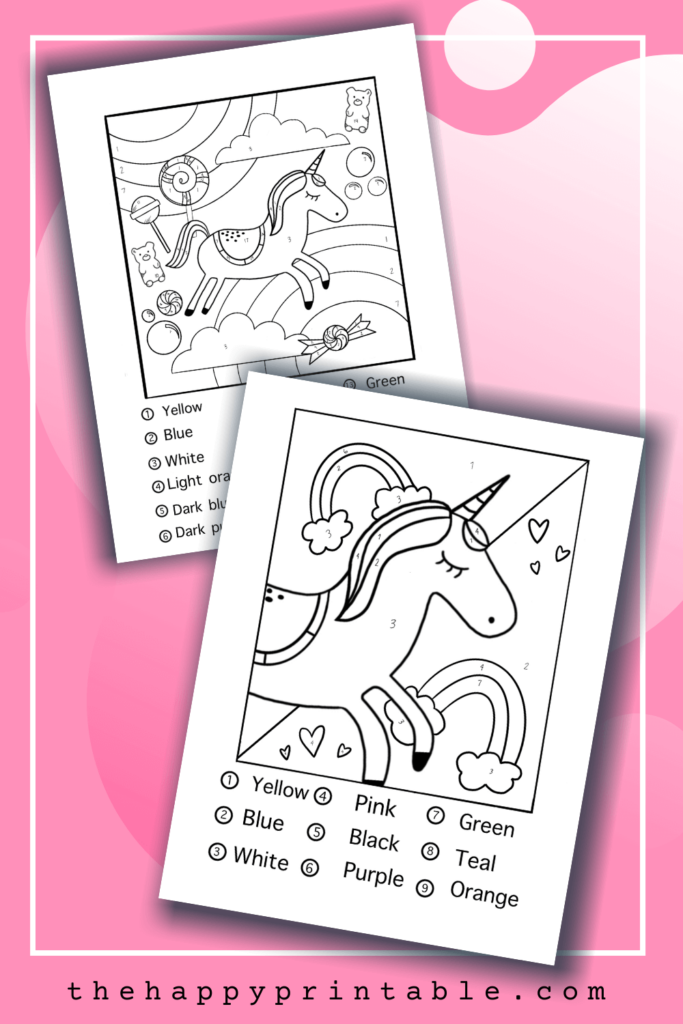 color by number unicorn printables