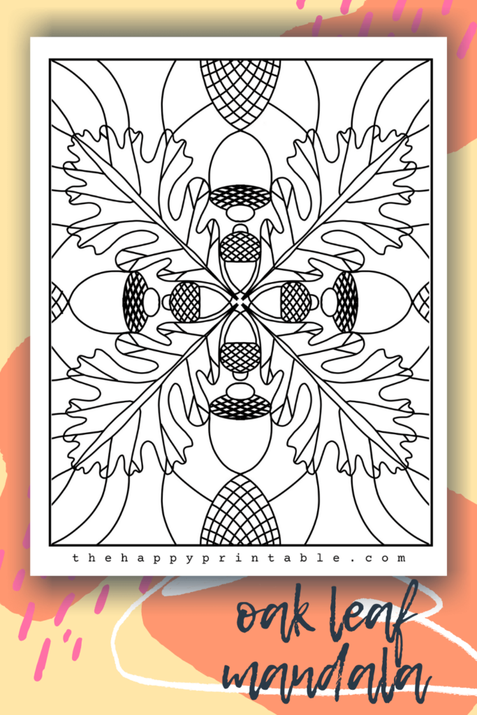 Oak leaf mandala coloring page