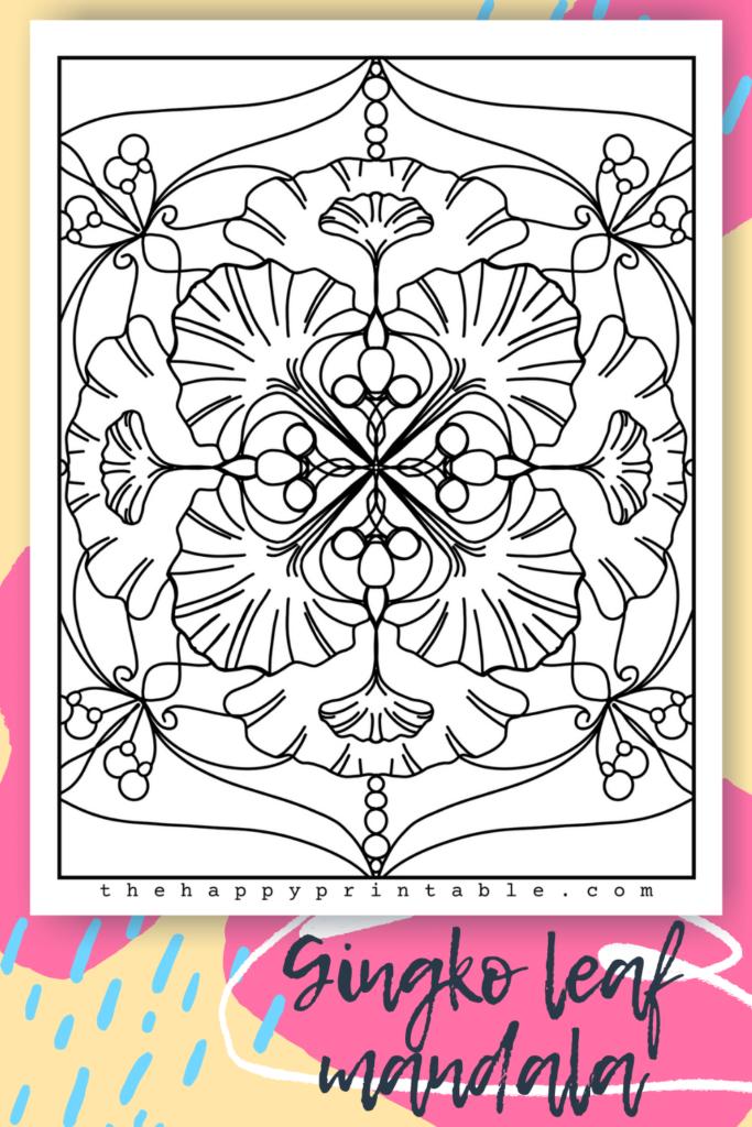 Gingko leaf mandala coloring page