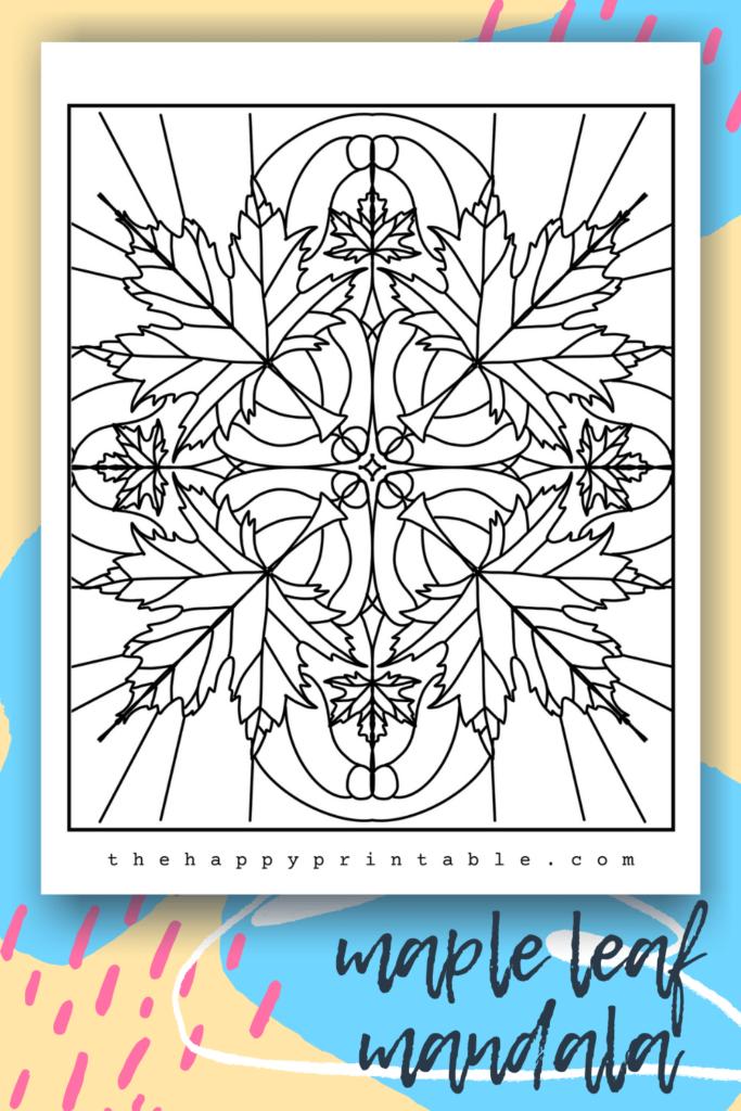 Maple leaf mandala coloring page