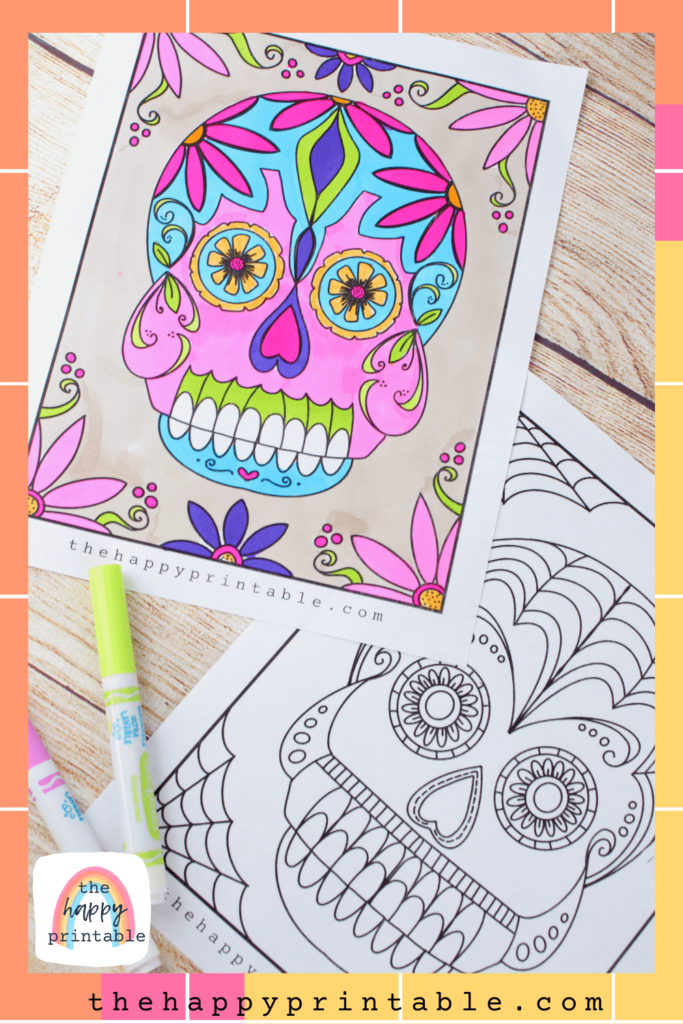 Printable sugar skull coloring pages to color