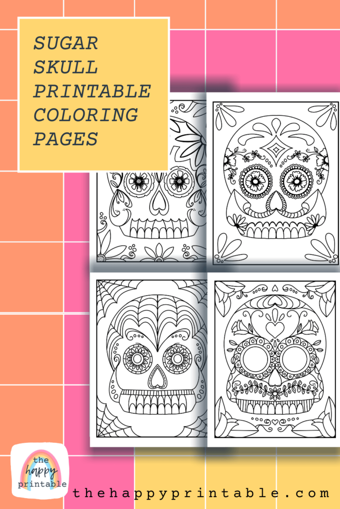 Five free printable Day of the Dead sugar skull coloring pages