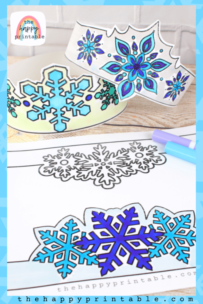 Printable snowflake headbands for kids to color and wear
