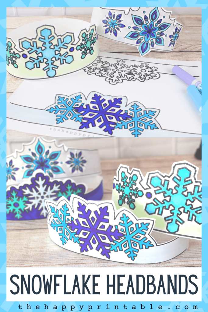 Printable snowflake headbands for kids to color, cut, wear.