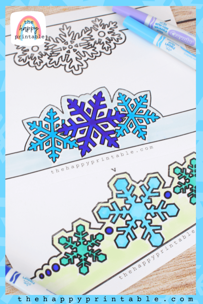 black and white printable snowflake headbands print two to page for an easy snowflake craft.