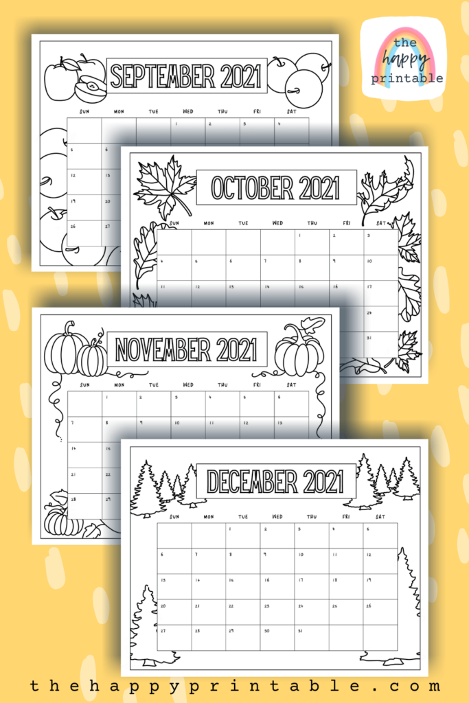 2021 monthly calendar pages for kids to color
