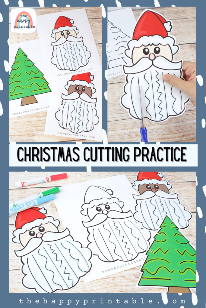 Color and black and white Christmas themed printables to practice cutting skills