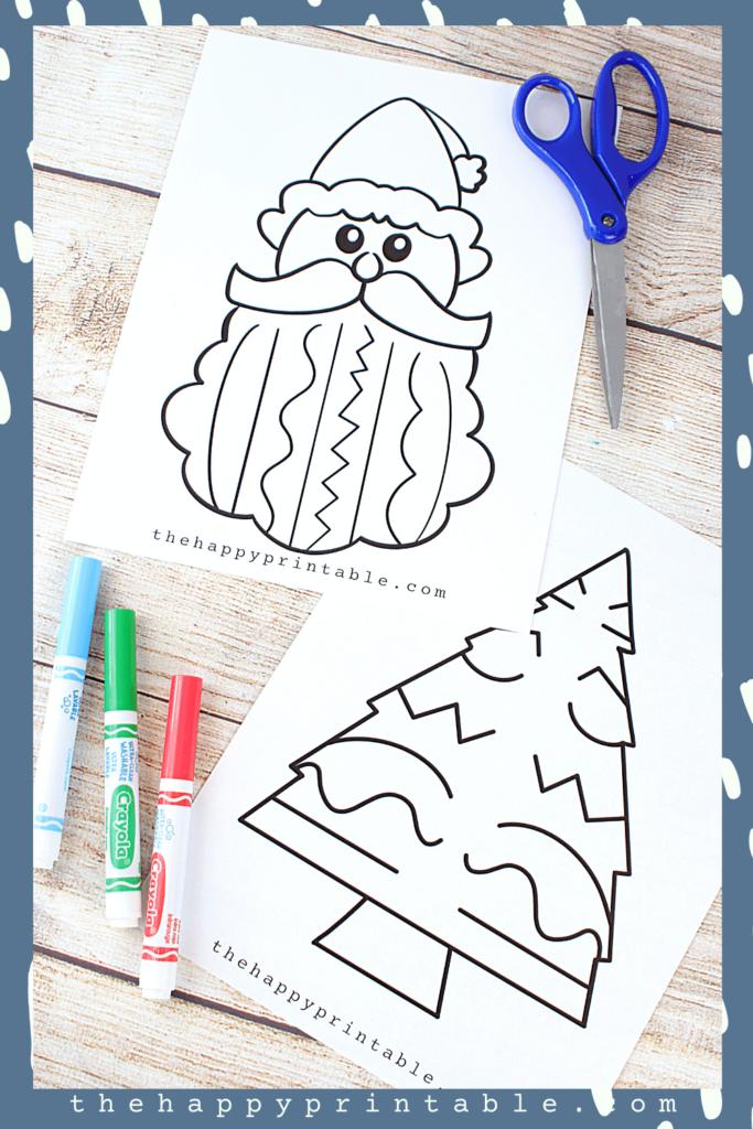 Black and white Christmas themed scissor skills printables