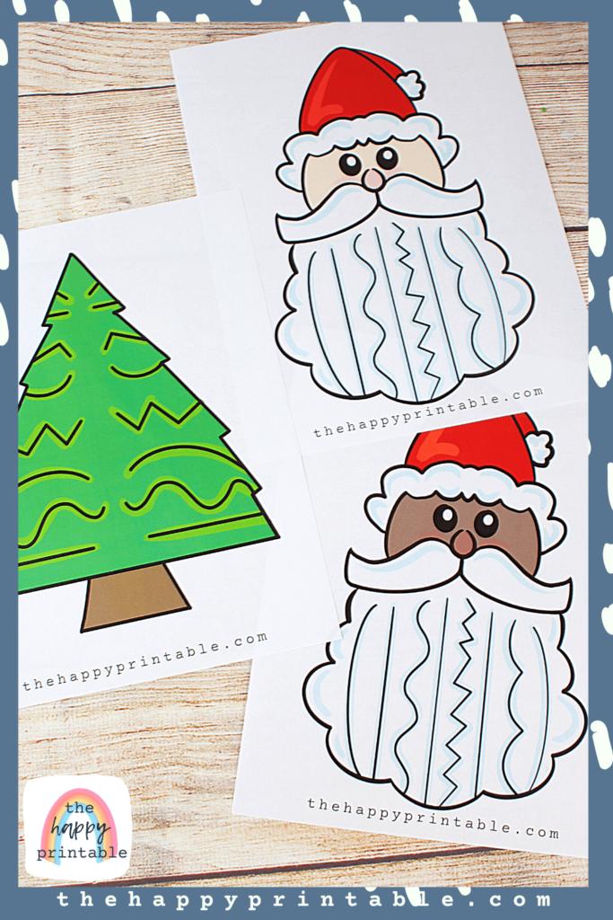 Full color Christmas themed scissor skills printables