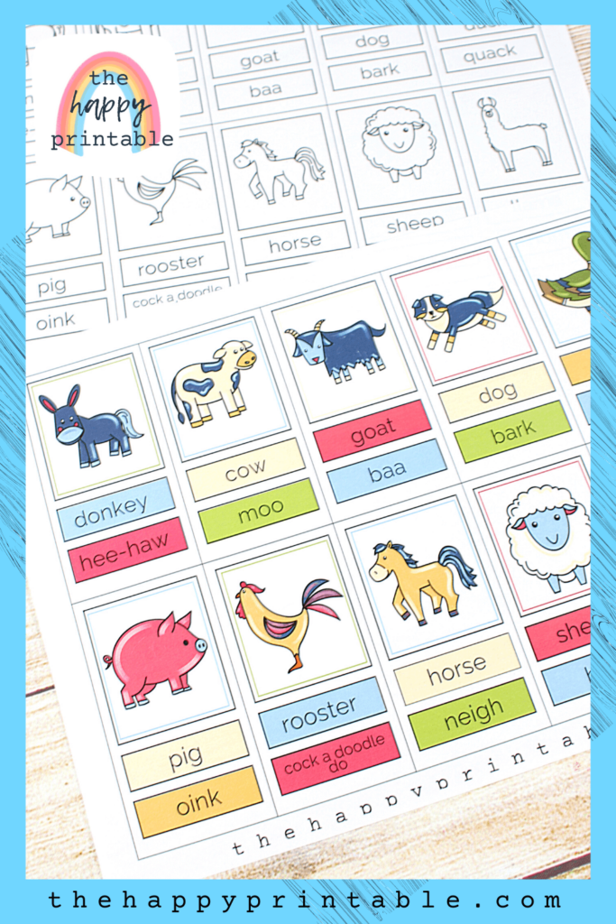 donkey, cow, goat, dog, duck, pig, roster, horse, sheep, and llama flashcards