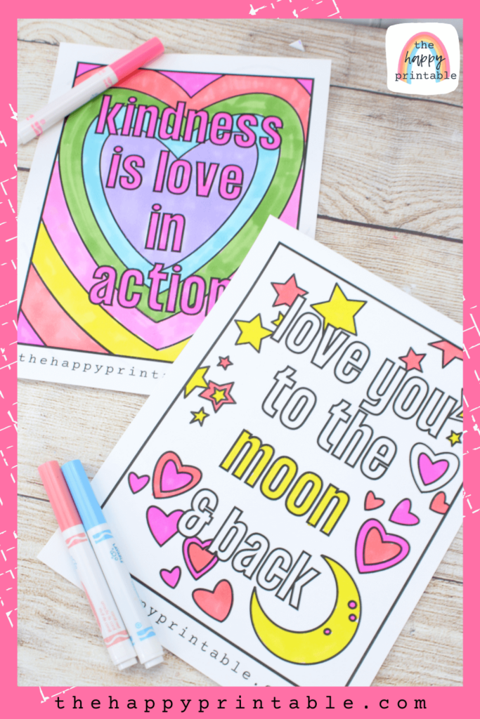 Kindness is love in action coloring page and love you to the moon and back coloring page