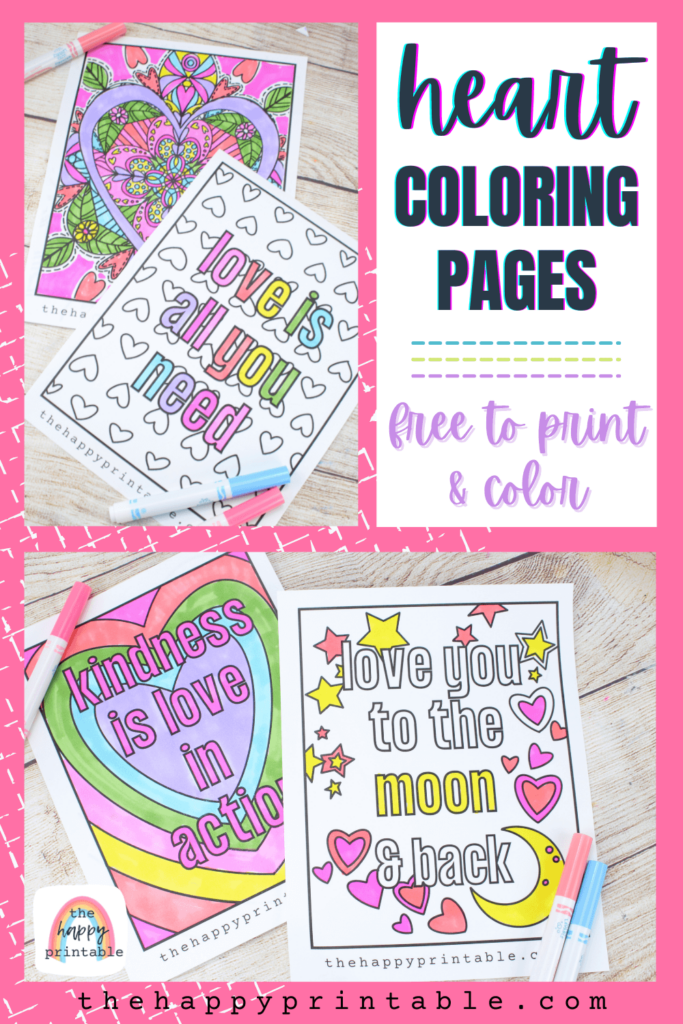 Four heart coloring pages perfect for Valentine's Day