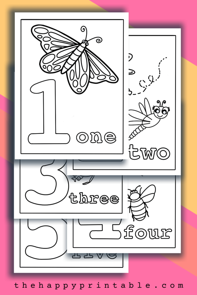 Number coloring pages each feature the digit, the umber word, and a corresponding number of insects.