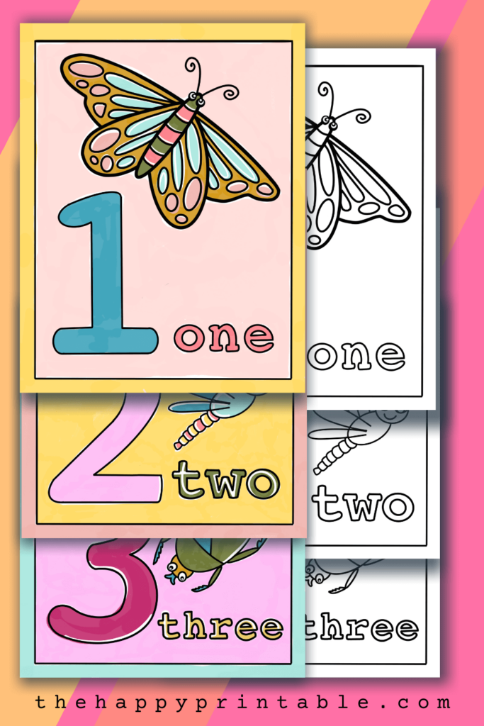 Free printable number coloring pages each feature the digit, the umber word, and a corresponding number of insects.