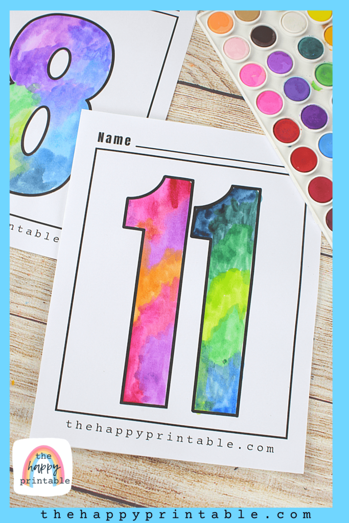 Printable number 11 in an extra large size painted with watercolor paint.