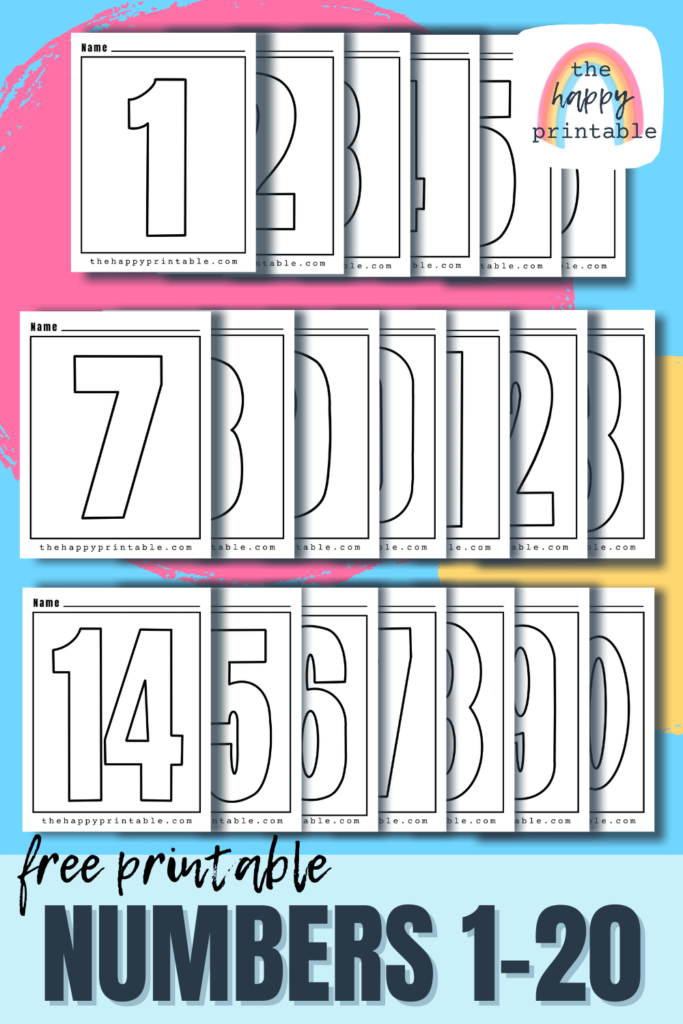 Printable number 1-20 are free to print and colors