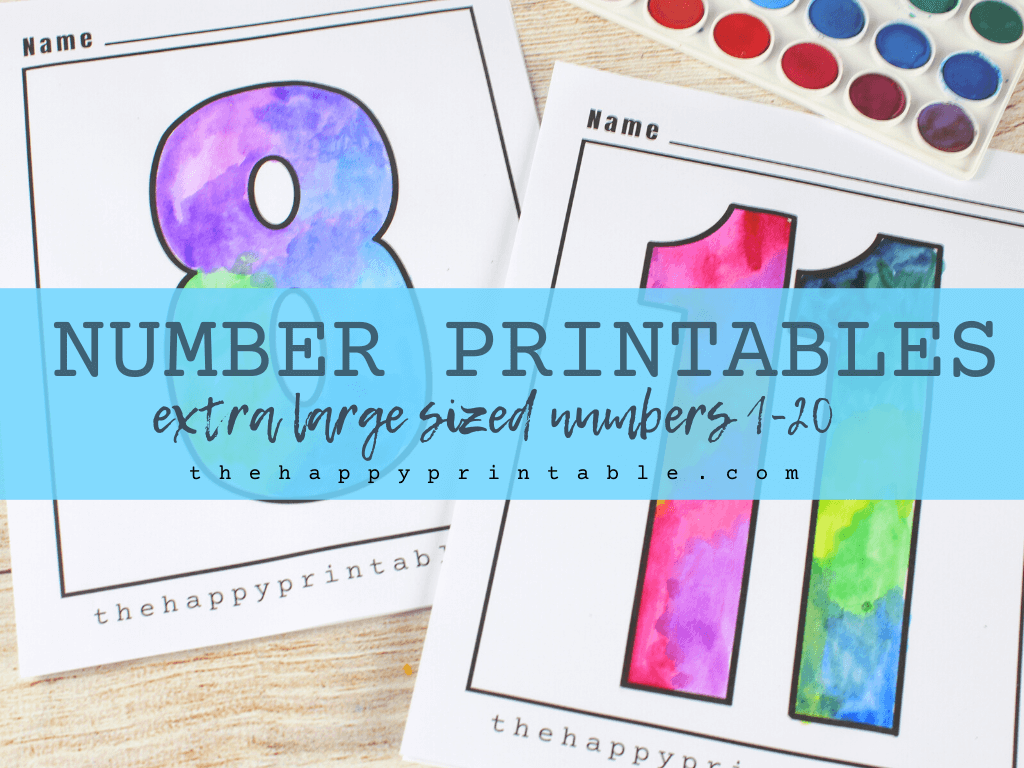 Printable numbers 1-20 to color, cut, or collage.