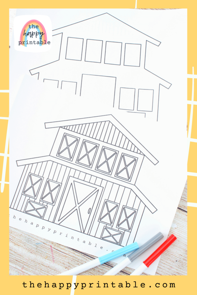 Barn coloring page with doors that open