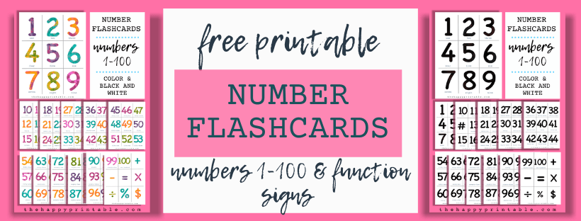 free printable number flashcards 1-100
