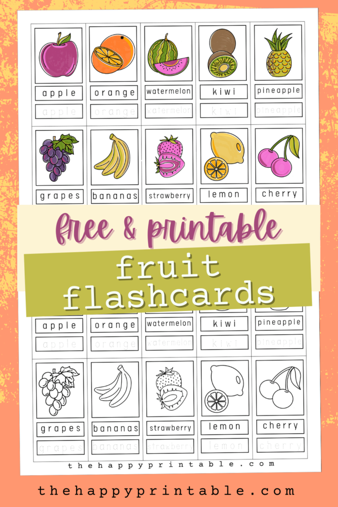 free printable fruit flashcards in color and black and white