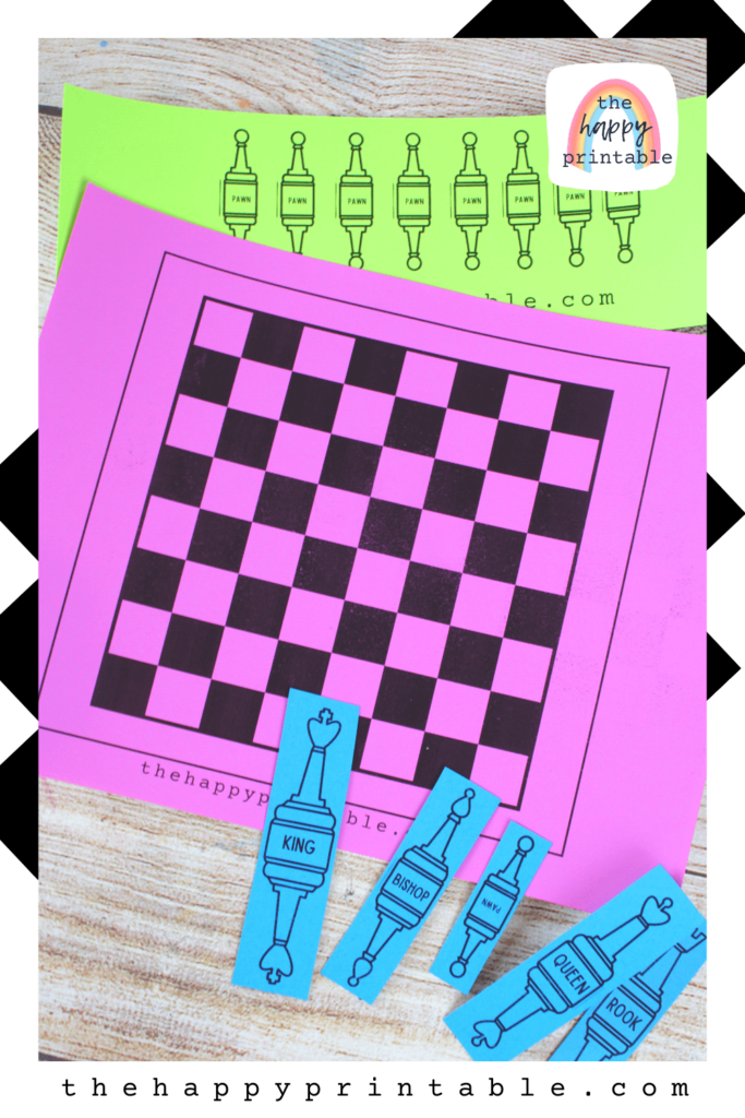 Chess board printable plus printable chess pieces that stand up on their own are free for you to print and use! Perfect for beginners!