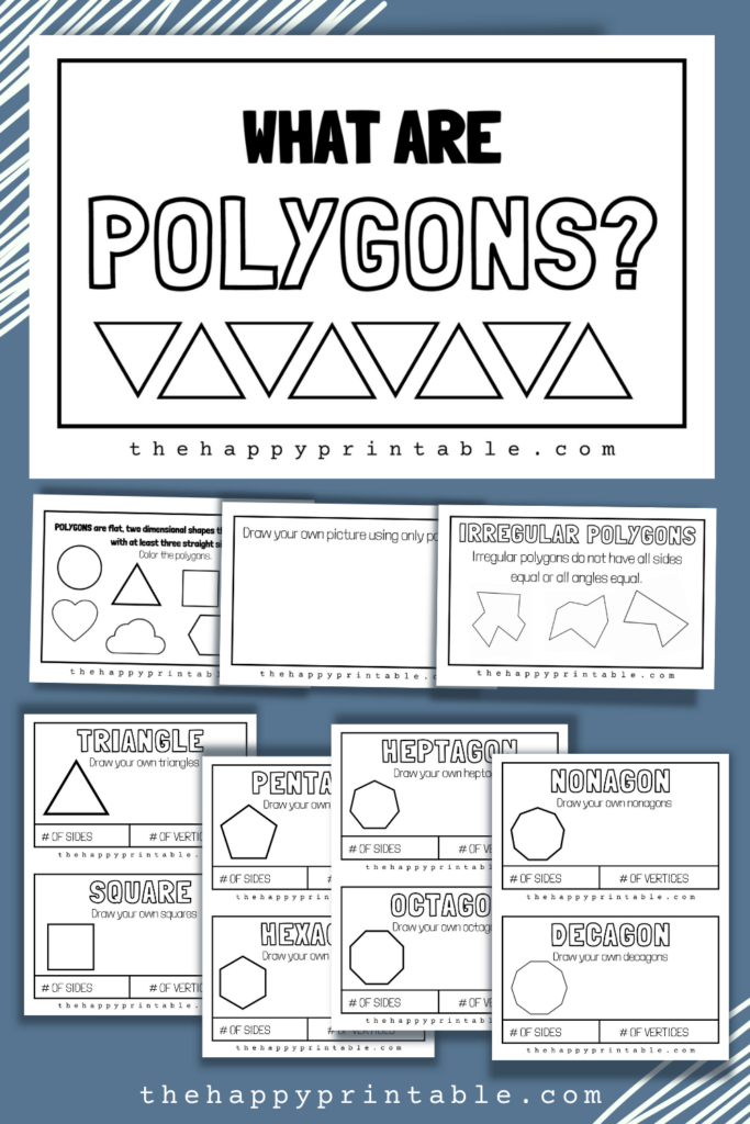 All about polygons book includes twelve pages about different polygon shapes.