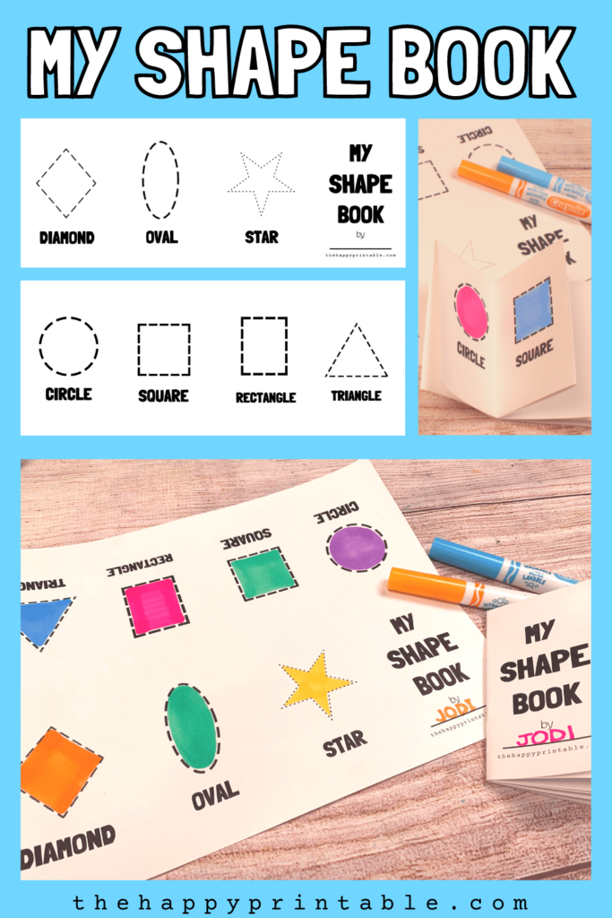 Free printable shape book includes diamond, oval, star, circle, square, rectangle, and triangle shapes.