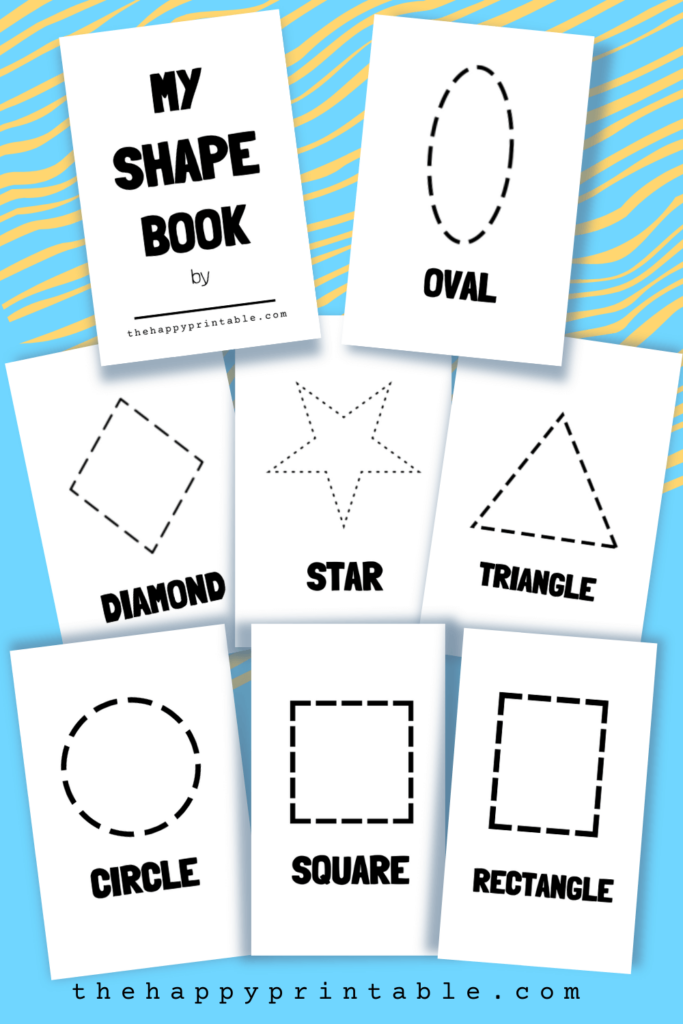Printable shape book template for preschoolers learning about shapes.