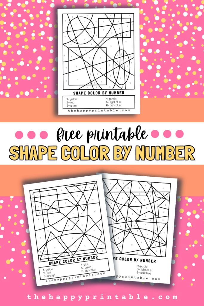 three printable color by number pages that focus on basic shapes