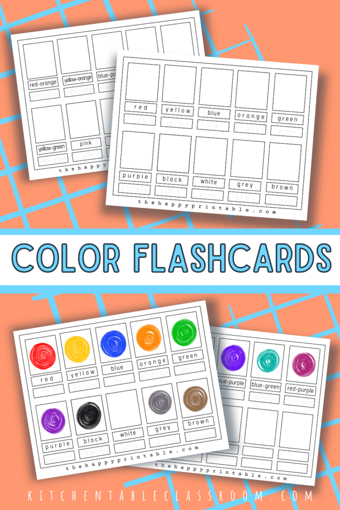 printable color flashcards include primary colors, secondary colors, and tertiary colors