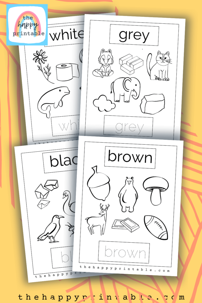 neutral colors coloring pages- brown, black, gray, white